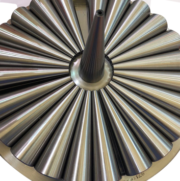Full complement thrust tapered roller bearing for pressing mechanism